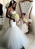 Romantic Tulle Sweetheart Neckline Mermaid Wedding Dresses With Beaded Lace Appliques