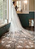 In Stock Chic Cathedral Wedding Veil With Lace Appliques