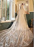In Stock Exquisite Tulle Cathedral Wedding Veil With Sequins