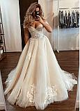 Fascinating Tulle Off-the-shoulder Neckline A-line Wedding Dresses With Beaded Lace Appliques