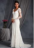 Charming Tulle V-neck Neckline Mermaid Wedding Dresses with Beaded Lace Appliques