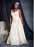 Elegant Taffeta Sweetheart Neckline A-line Plus Size Wedding Dresses with Beaded Lace Appliques