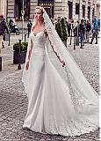 Attractive Tulle & Acetate Satin Spaghetti Straps Sheath Wedding Dresses With Lace Appliques