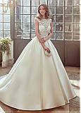 Gorgeous Tulle & Satin Bateau Neckline Ball Gown Wedding Dresses With Embroidery & Beadings