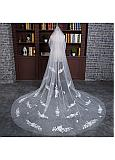 In Stock Gorgeous Tulle Cathedral Wedding Veil With Lace Appliques