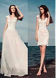 Marvelous Lace V-Neck 2 In 1 Wedding Dresses With Lace Appliques