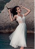 Charming Tulle & Pongee Scoop Neckline A-Line Knee-length Wedding Dresses With Lace Appliques