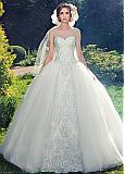 Attractive Tulle & Organza Sweetheart Neckline Ball Gown Wedding Dresses With Lace Appliques