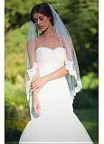 Romantic Tulle Wedding Veil With Lace Appliques & Comb