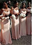 Unique Chiffon Spaghetti Straps Neckline Full Length Mermaid Bridesmaid Dresses