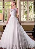 Romantic Tulle Scoop Neckline A-line Wedding Dresses With Beaded Lace Applqiques