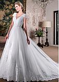 Stunning Tulle V-neck Neckline A-line Wedding Dresses With Beadings & Lace Applqiques
